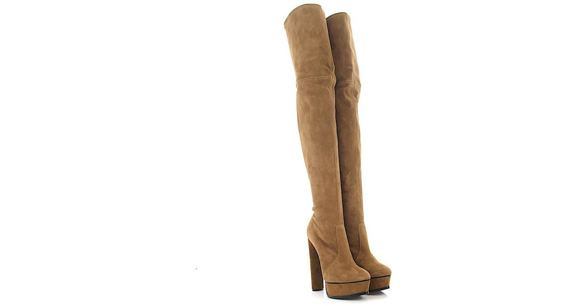 062ba9d78fe75c Lyst - Casadei Overknee Boots 1t837e Plateau Suede Brown in Brown