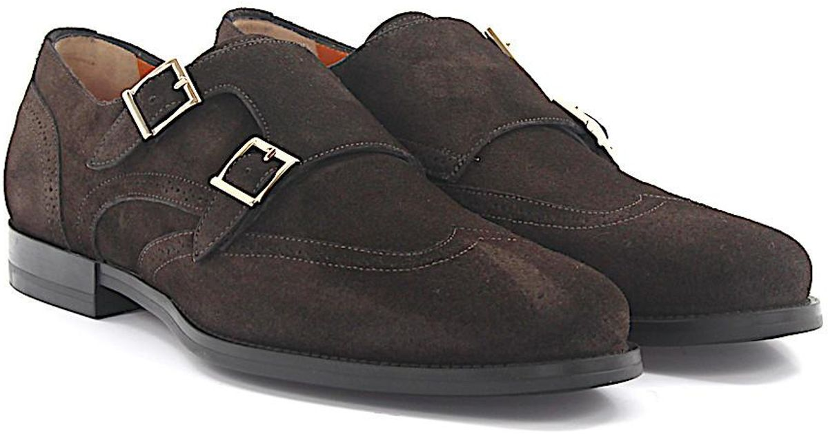 Double-Monk Strap 15811 Budapetser suede brown Santoni H16UemnWl