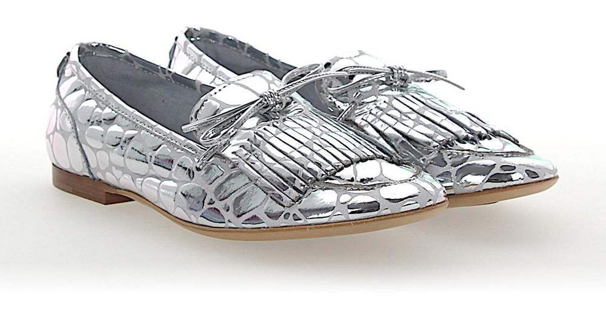 AGL ATTILIO GIUSTI LEOMBRUNI Slipper D744009 leather metallic frays 4VQ6J