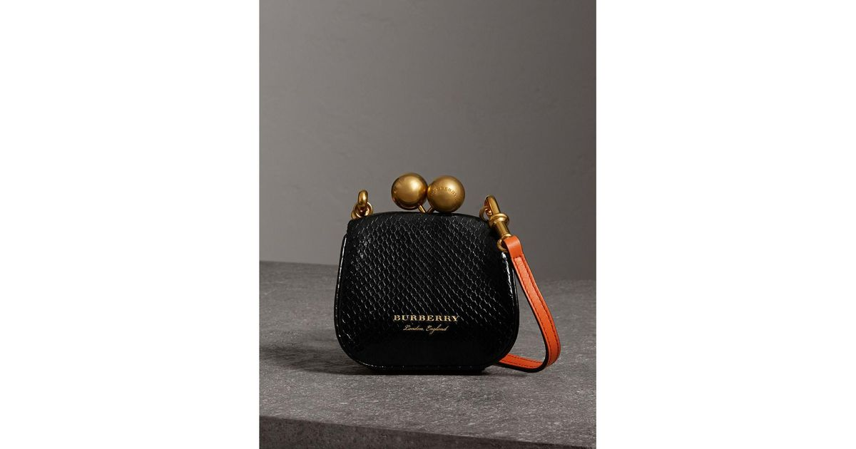 c6831483905 Burberry Mini Two-tone Python Frame Bag in Black - Lyst