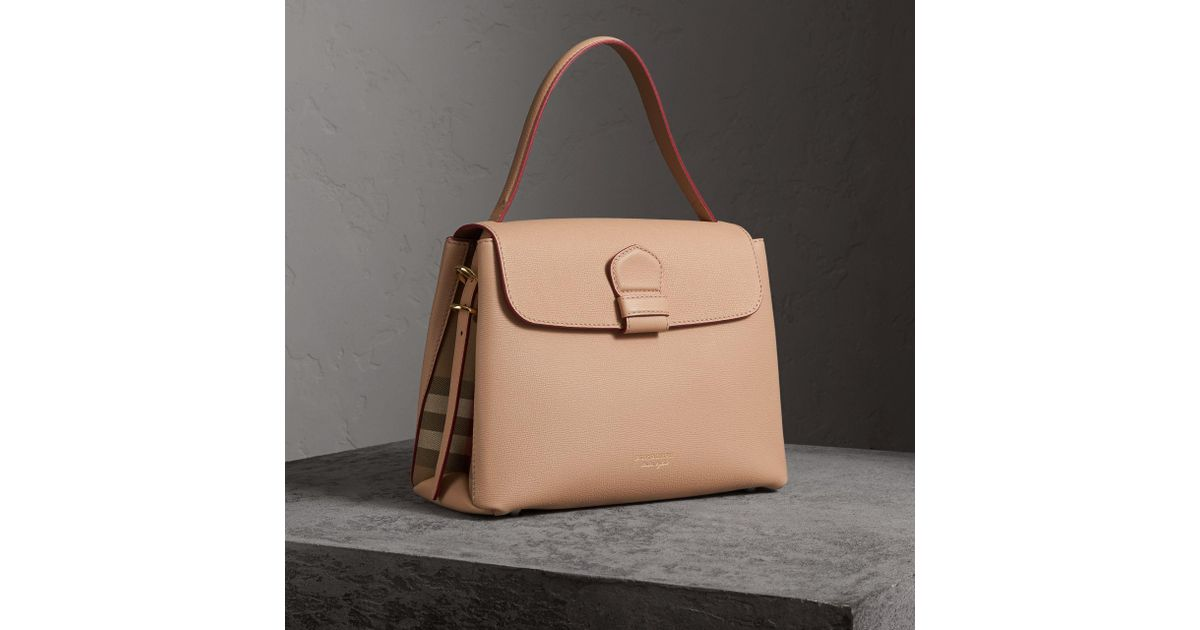 a75d34d57af Burberry Medium Grainy Leather And House Check Tote Bag - Women   - Lyst