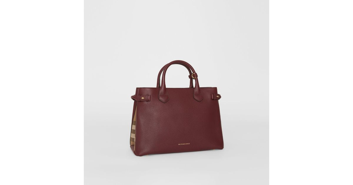 b5b6df64c869 Burberry The Medium Banner In Leather And House Check Mahogany Red - Lyst