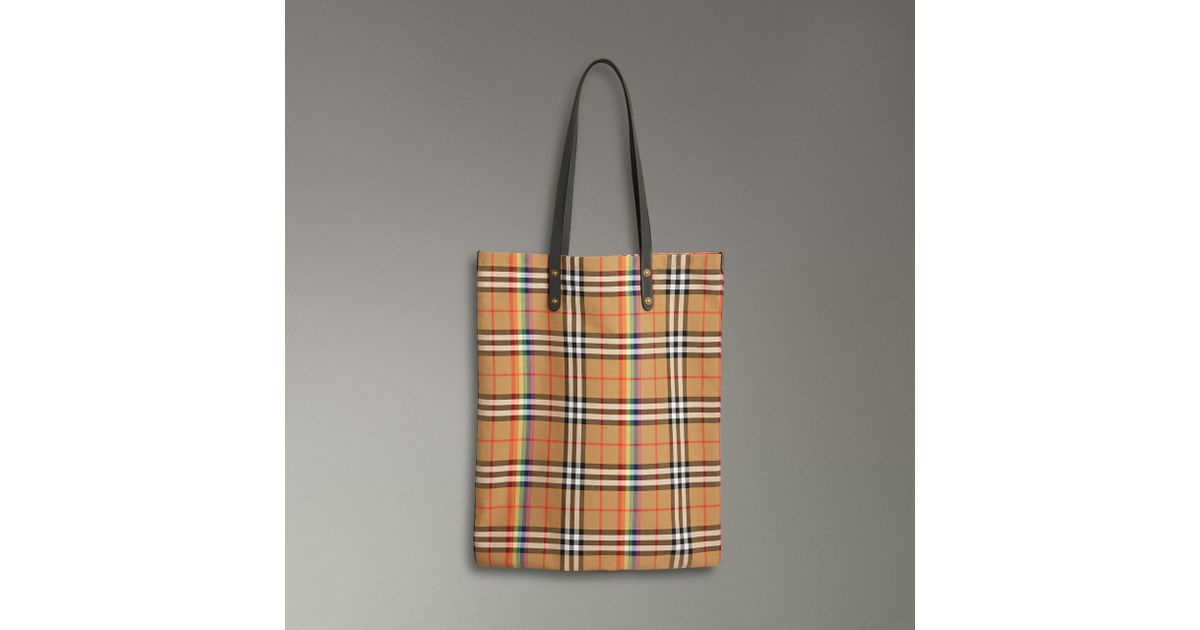 b8c99402a6c2 Lyst - Burberry Large Rainbow Vintage Check Shopper in Gray