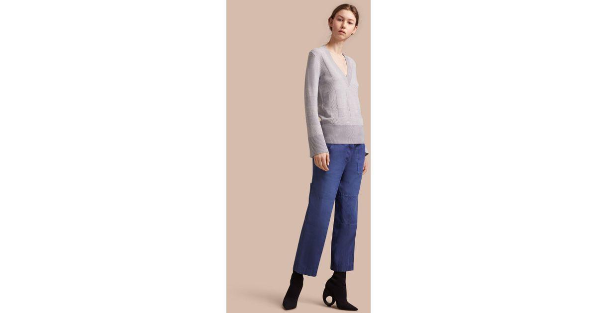 Burberry Check Merino Wool Silk Cotton V-neck Sweater