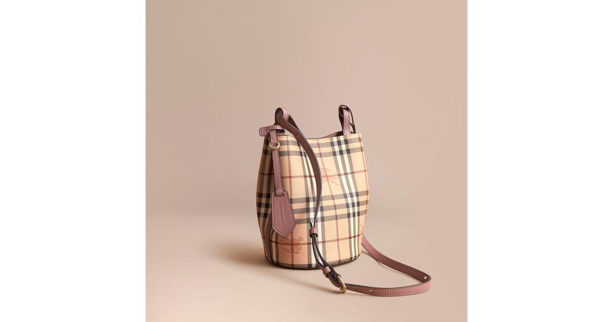11aa27cb31ce Lyst - Burberry Leather And Haymarket Check Crossbody Bucket Bag Light  Elderberry