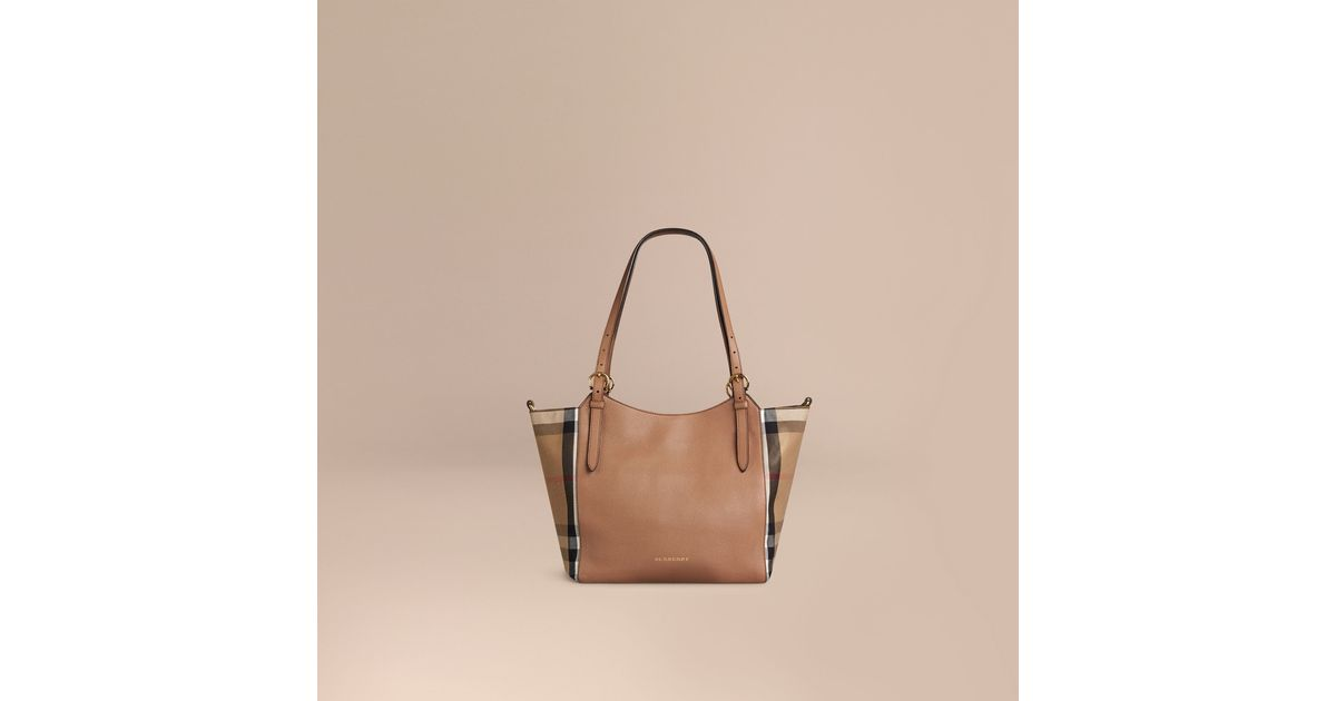 Lyst - Burberry The Small Canter In Leather And House Check Dark Sand in  Natural 5cef3740023a1