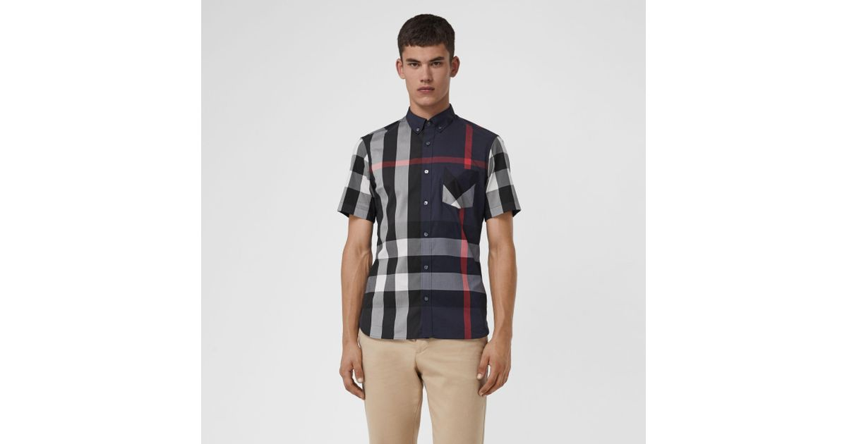 Lyst - Burberry Short-sleeve Check Stretch Cotton Blend Shirt Navy in Blue  for Men f8a4036828