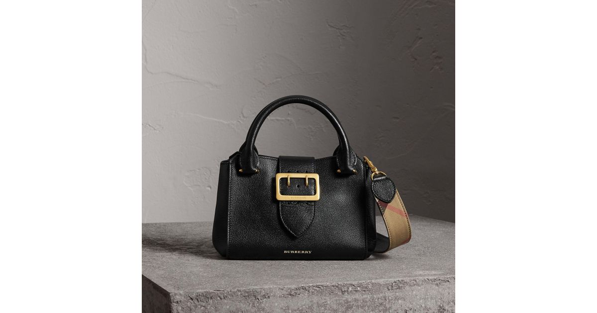 0918cc2b4923 Lyst - Burberry The Small Buckle Tote In Grainy Leather Black in Black