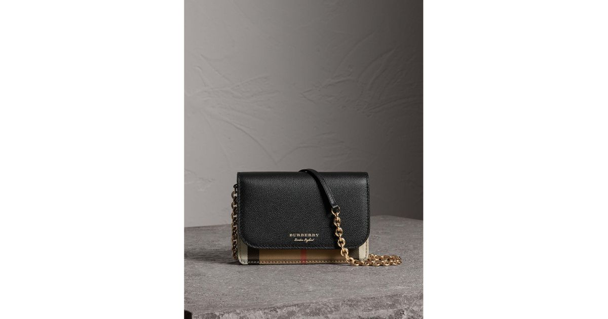 97a94caf4973 Lyst - Burberry Leather And House Check Wallet With Detachable Strap in  Black