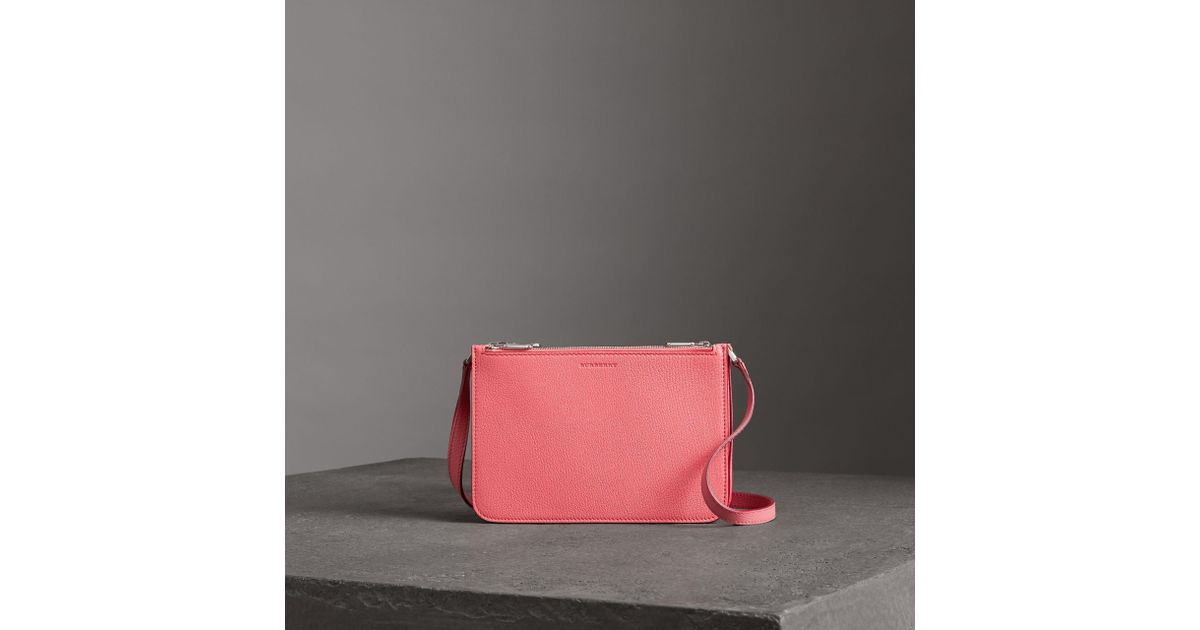 bd7f5c01a0 Burberry Pink Triple Zip Grainy Leather Crossbody Bag