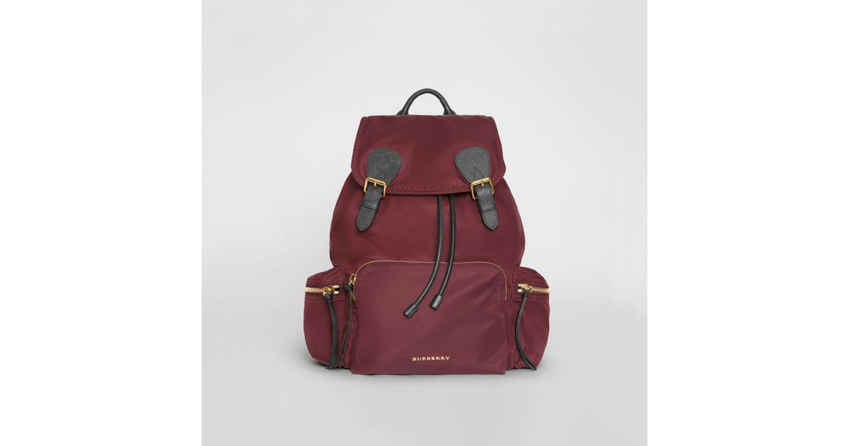 d735546391fe Burberry The Large Rucksack In Technical Nylon And Leather Burgundy Red in  Purple - Lyst