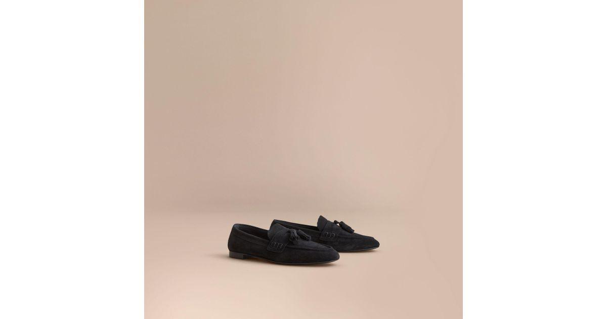 519856c7155 Lyst - Burberry Tasselled Suede Loafers Black in Black