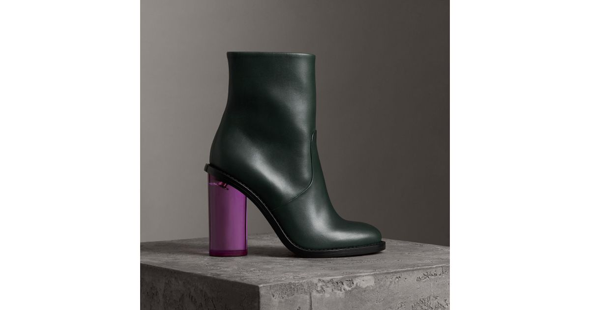06d8bbc0bcdd Lyst - Burberry Two-tone Leather High Block-heel Boots in Green