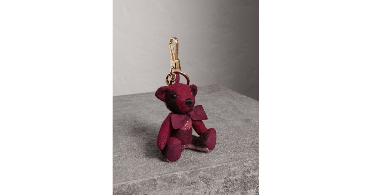 e134727732cf Lyst - Burberry Thomas Bear Charm In Check Cashmere
