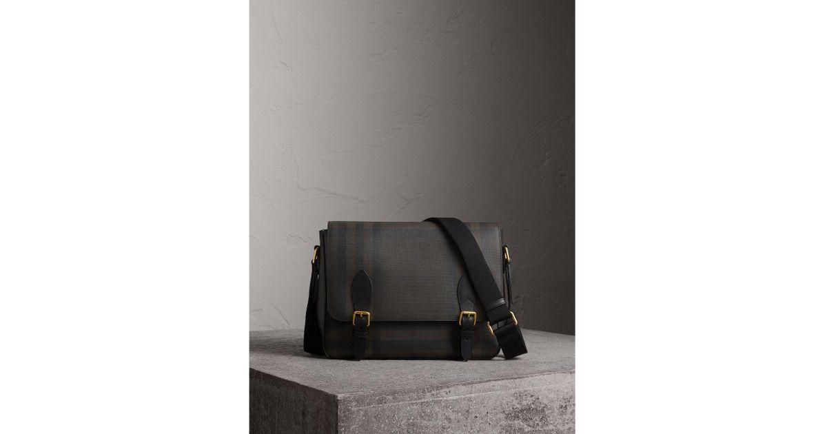7e49c677e86b Lyst - Burberry Leather Trim London Check Messenger Bag Chocolate black for  Men