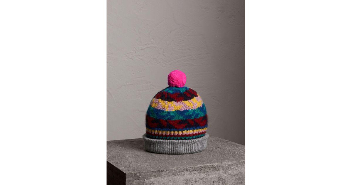 Lyst - Burberry Pom-pom Fair Isle Cashmere Wool Beanie