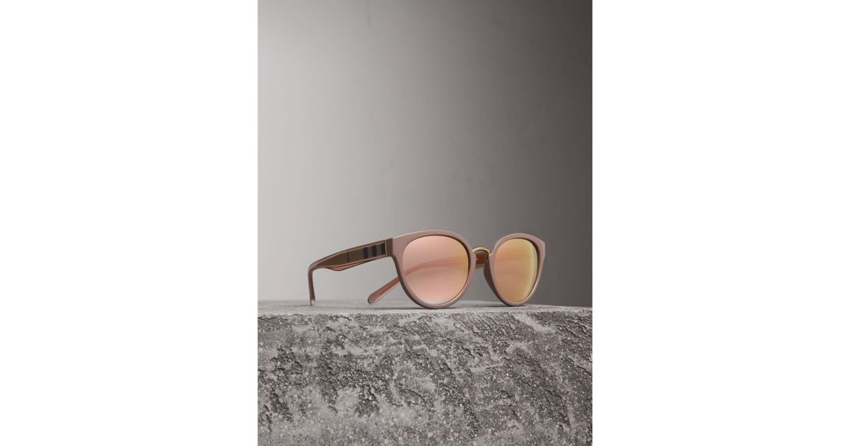 17aa4da6a8f Lyst - Burberry Check Detail Mirrored Cat-eye Frame Sunglasses