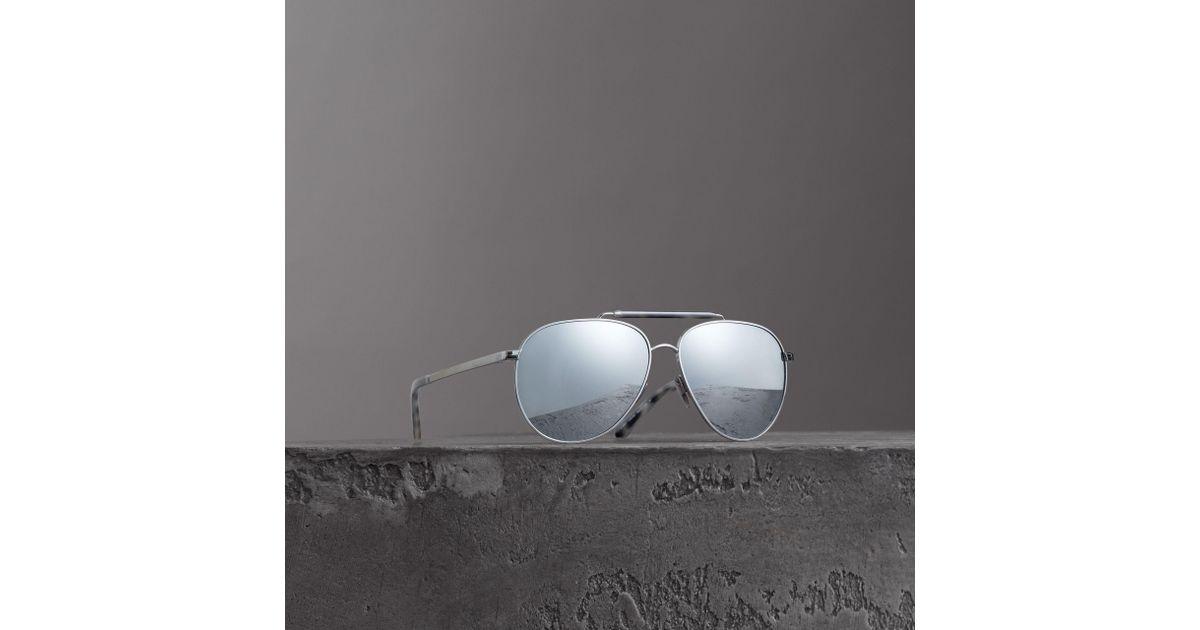 8361551f0f Lyst - Burberry Top Bar Detail Pilot Sunglasses in Gray for Men