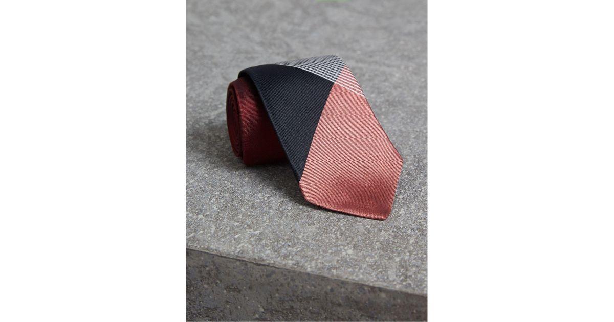 f1de20e66d34 Lyst - Burberry Modern Cut Check Silk Twill Jacquard Tie Coral Red in Red  for Men
