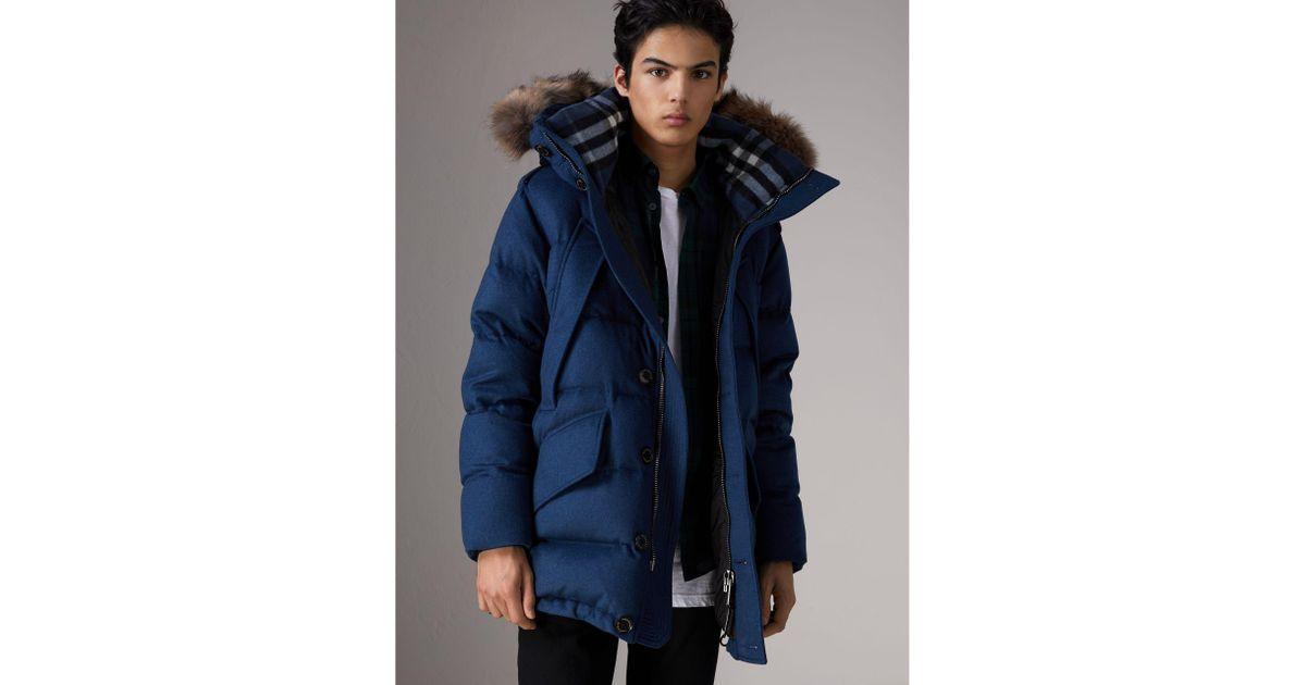 3a7623edbc7d Lyst - Burberry Detachable Fur Trim Cashmere Down-filled Parka in Blue for  Men