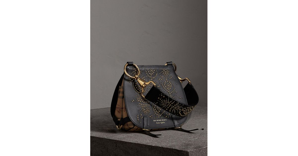 f4db162cfbb0 Lyst - Burberry The Bridle Bag In Fruit And Flowers Riveted Leather Black  in Black