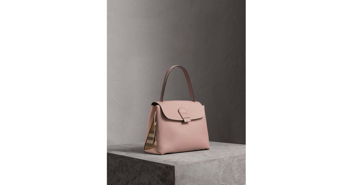 Burberry Medium Grainy Leather And House Check Tote Bag - Lyst b759ed4496