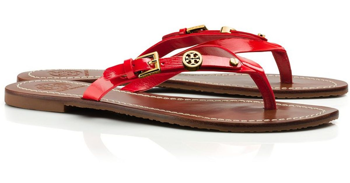 614d0a7d2b3 Lyst - Tory Burch Monogram Flat Thong Sandal in Red