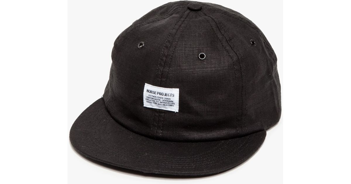 Lyst - Norse Projects Linen 6 Panel Cap in Black for Men 6eed133ae1d