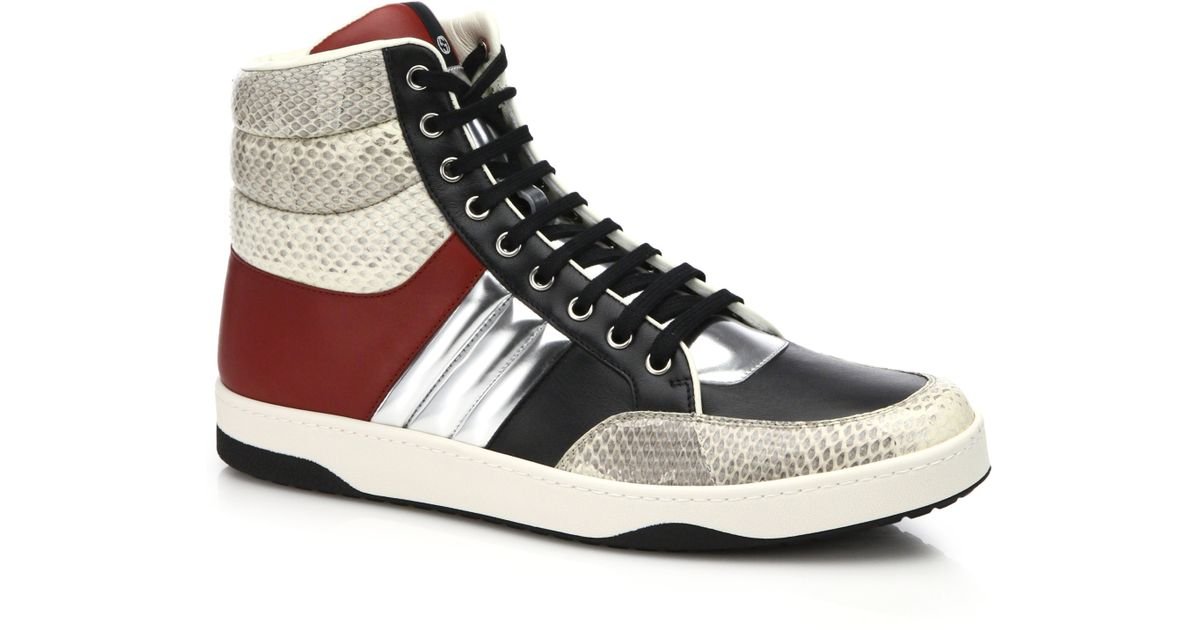 7d044aaced8 Lyst - Gucci Ronnie Snakeskin   Leather High-top Sneakers for Men