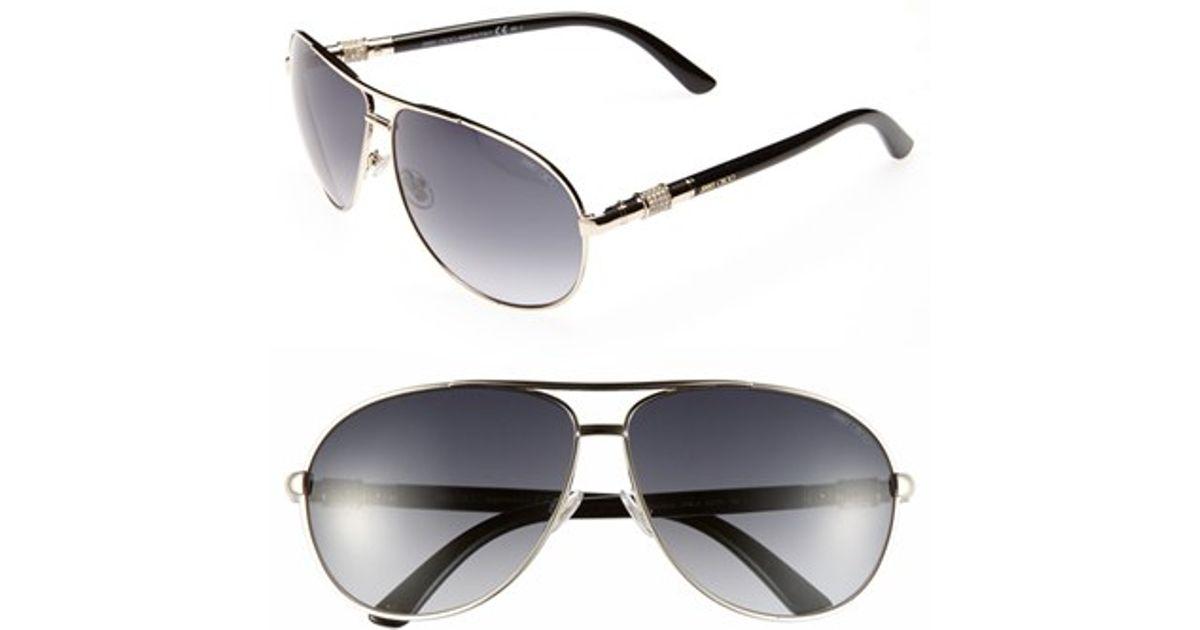 cc7796cc90dc Lyst - Jimmy Choo  walde  63mm Metal Aviator Sunglasses - Light Gold in  Metallic
