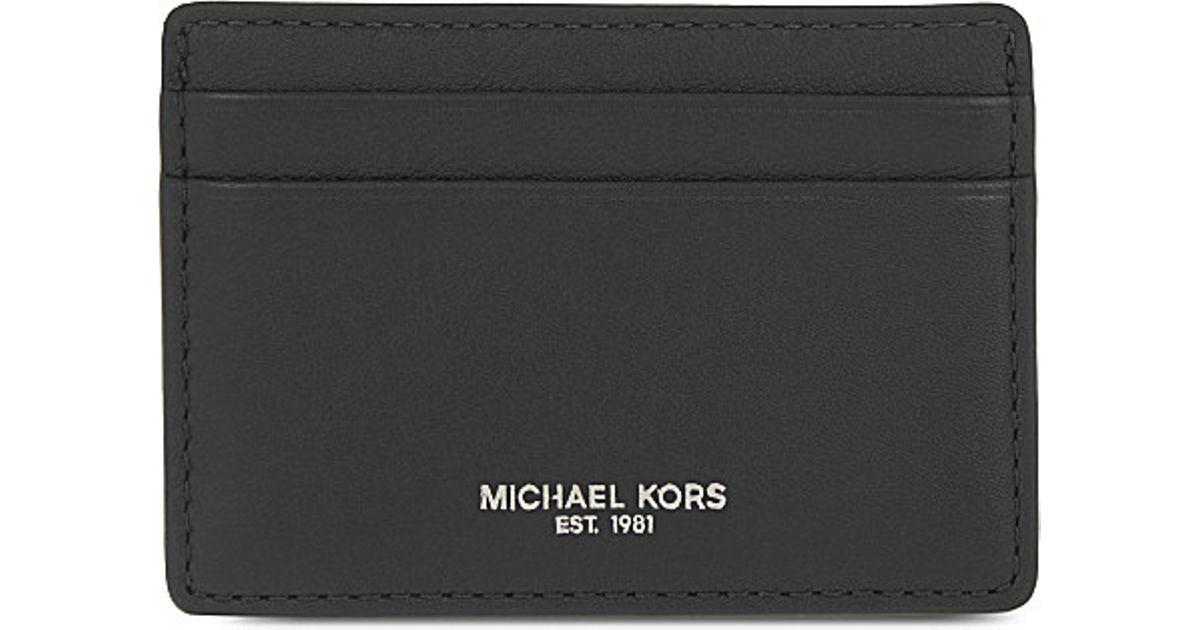 42995e755f38 Lyst - Michael Kors Soft Leather Card Holder in Black for Men