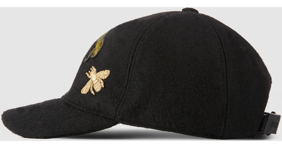 aa9cb25c758e47 Gucci Felt Hat With Snake And Bee in Black for Men - Lyst