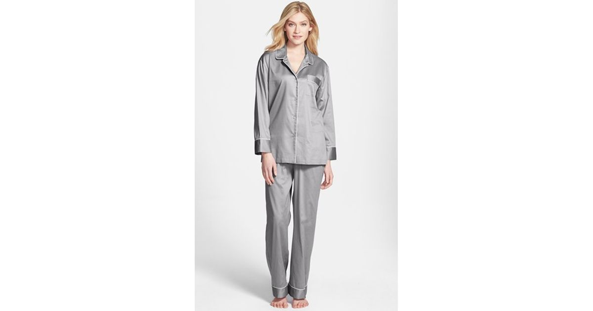 Lyst - Natori Piped Cotton Sateen Pajamas in Gray 13b36daaf