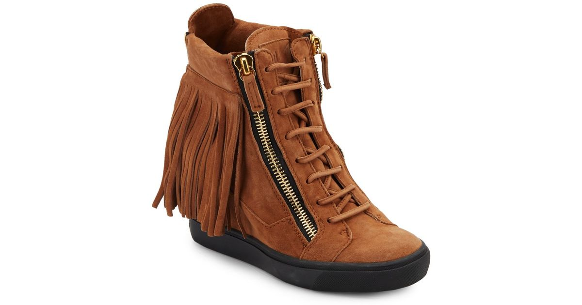 fd9afdcfd21fa Lyst - Giuseppe Zanotti Suede Fringe Wedge Sneakers in Brown