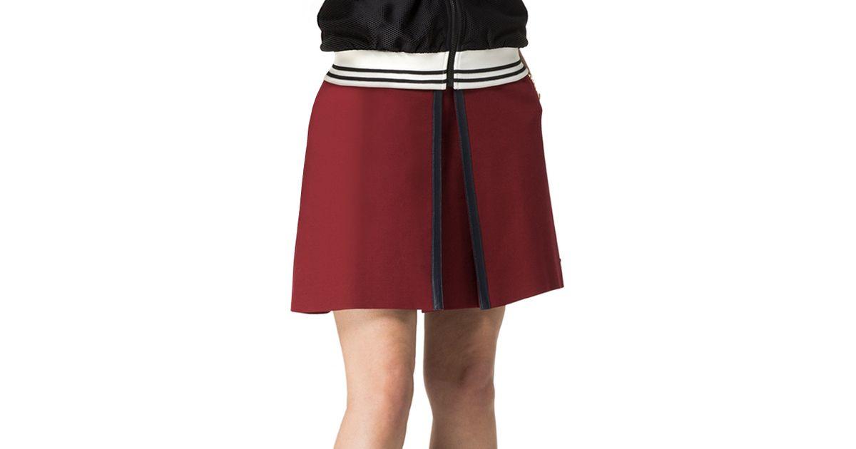hilfiger leather trim skirt in biking lyst