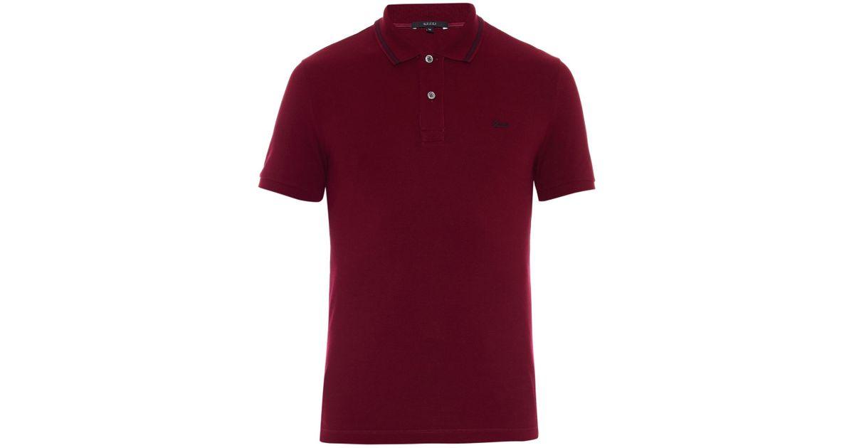 91ed3c66e342 Gucci Striped-Collar Polo Shirt in Purple for Men - Lyst
