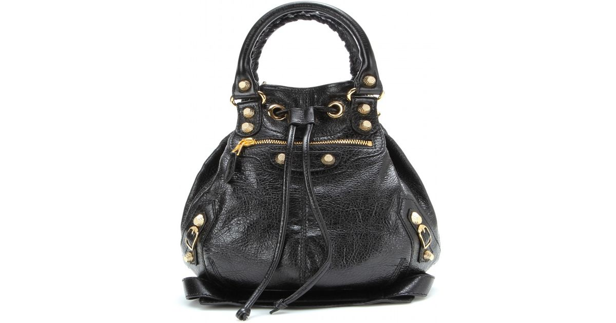 Balenciaga Giant Mini Pompon Leather Shoulder Bag in Black - Lyst 83ad2115f3