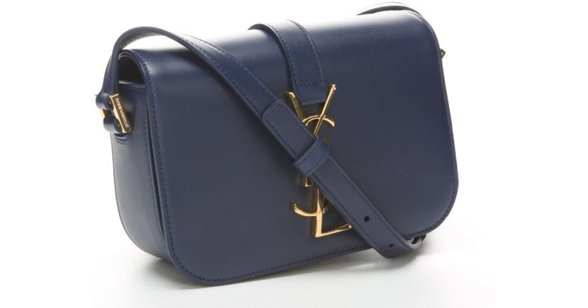 Saint Laurent Marine Blue Leather  Ysl  Logo Mini Crossbody Bag in Blue -  Lyst d59212999698d