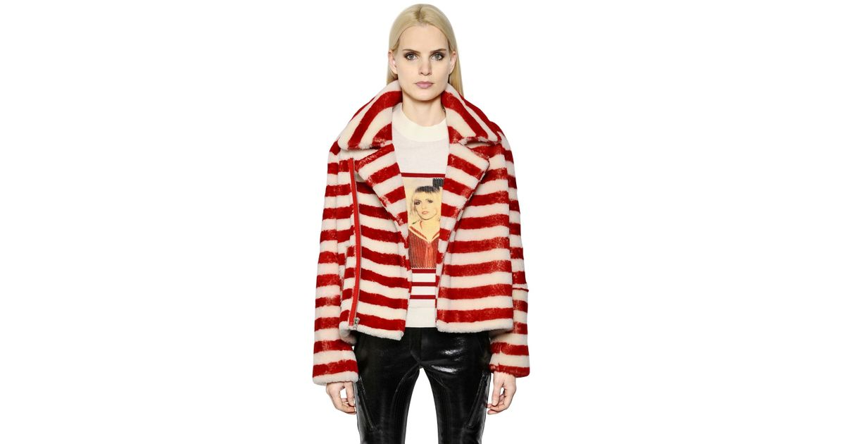 each x other striped oversize shearling biker jacket in red lyst