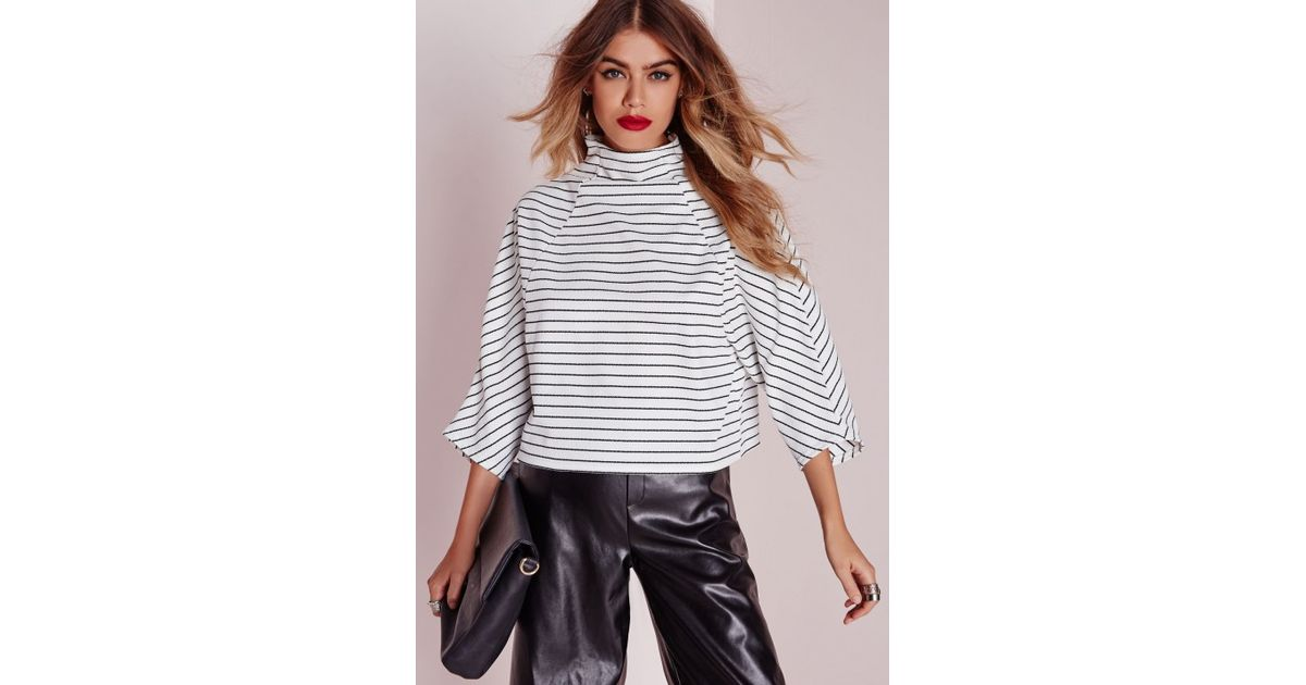 cfbd90116df7f Lyst - Missguided High Neck Striped Kimono Sleeve Crop Top White in White
