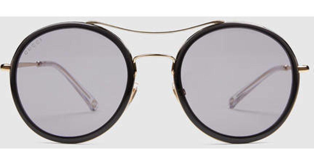a214247380b Lyst - Gucci Ultra-light Round Sunglasses in Metallic for Men