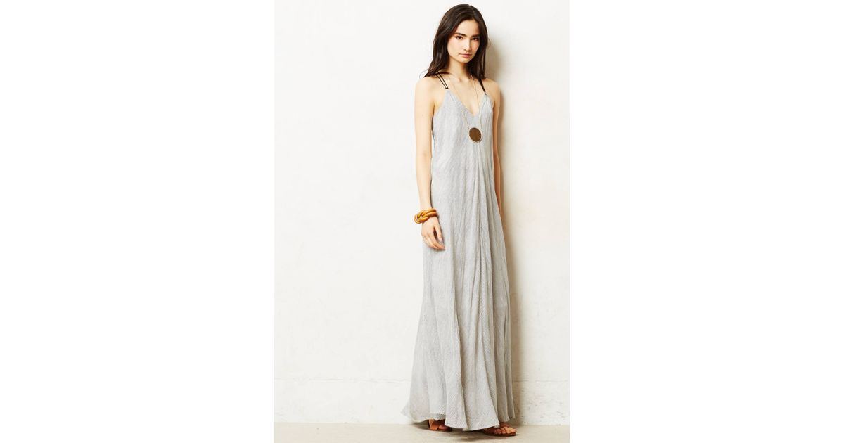 Anthropologie pinstriped maxi dress in black lyst for Anthropologie mural maxi dress