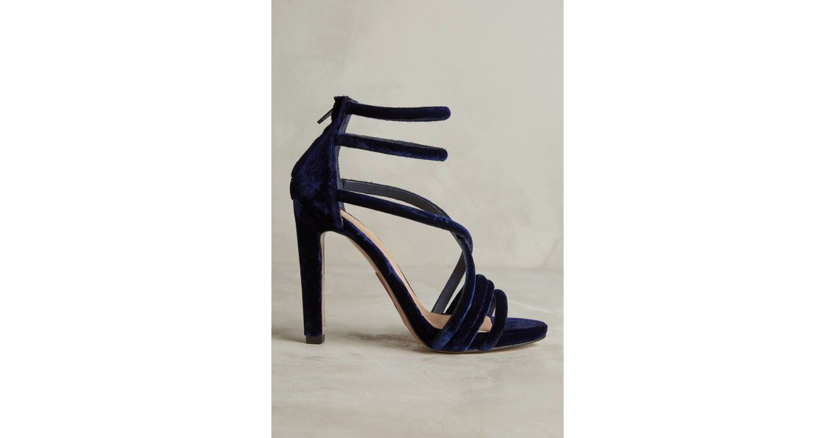 Intropia Strappy Velvet Heels in Blue | Lyst