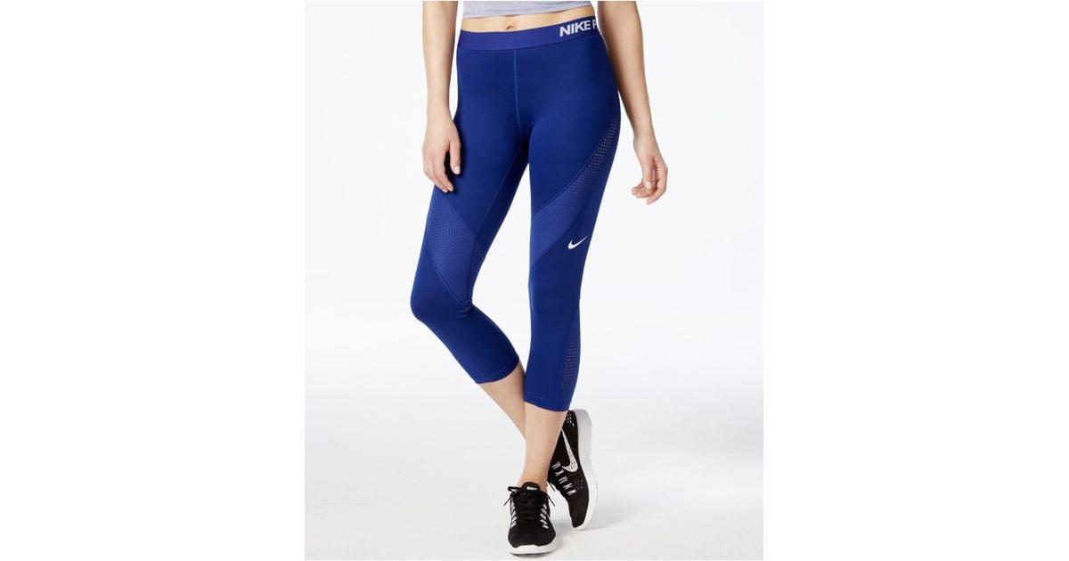 b8f432927b8d4 Nike Pro Hypercool Dri-fit Capri Leggings in Blue - Lyst