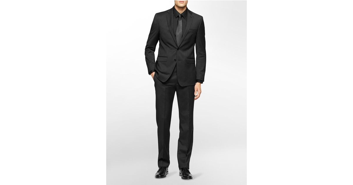 Calvin klein x fit ultra slim fit charcoal suit in gray for Calvin klein x fit dress shirt