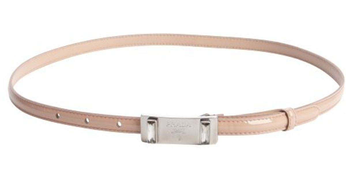 Prada Nude Patent Leather Silver Buckle Skinny Belt in Beige (nude ...