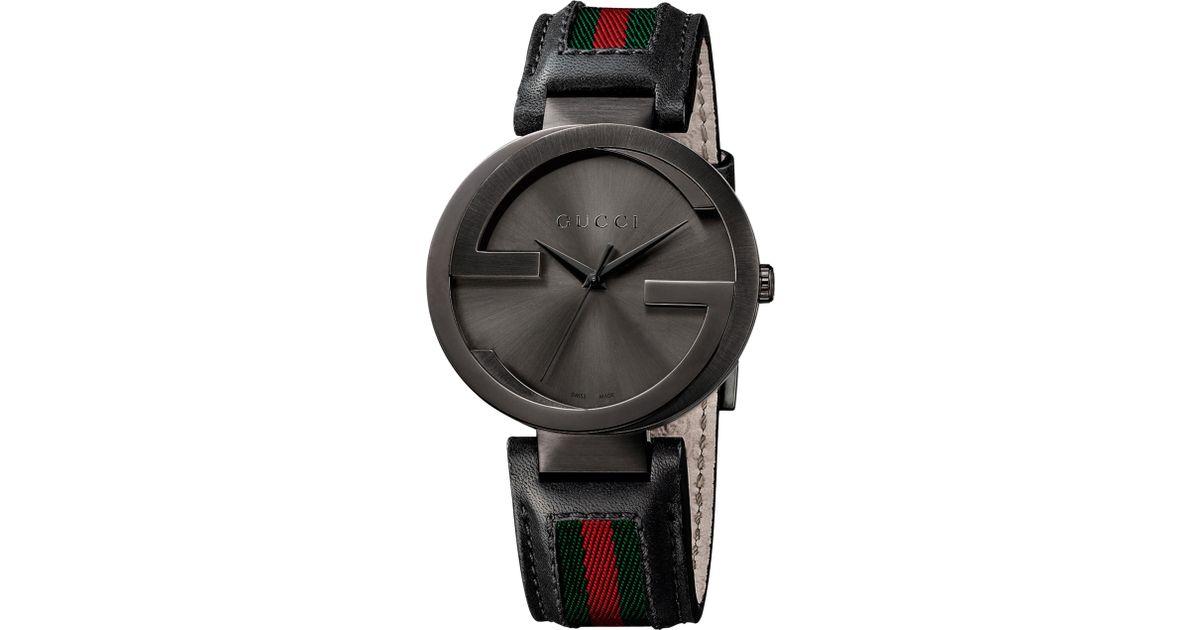 3ebba4fd678 Gucci Ya133206 Men s Interlocking G Fabric Strap Watch in Black for Men -  Lyst
