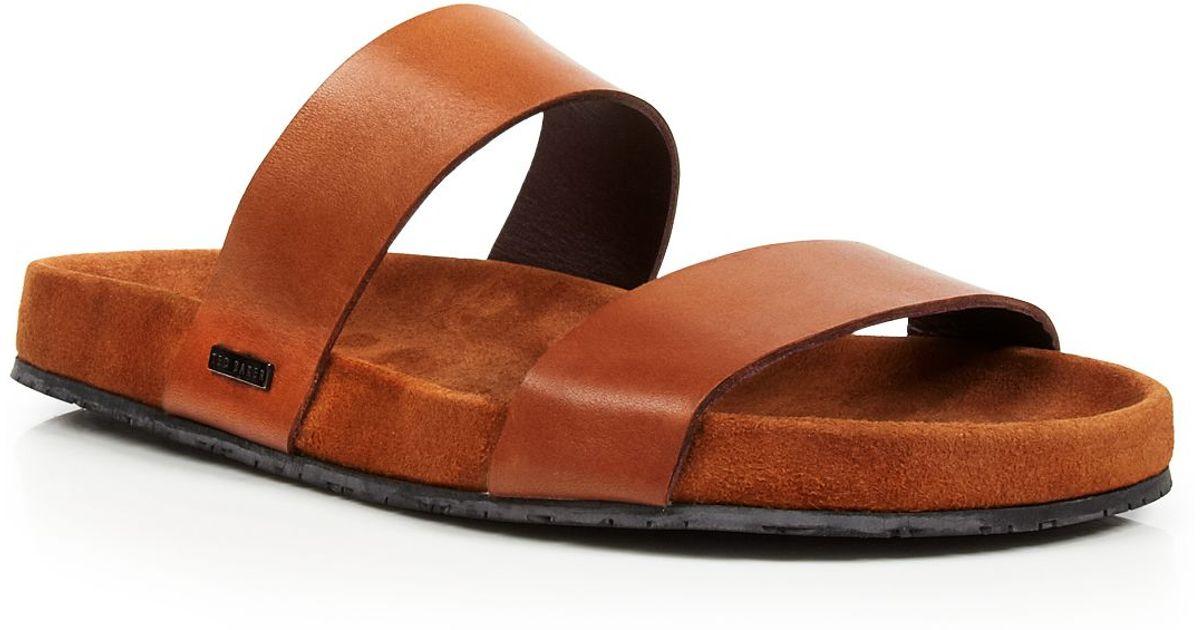 52bdf9e6d8f4 Lyst - Ted Baker Magnuss Leather Two-strap Slide Sandals in Brown for Men