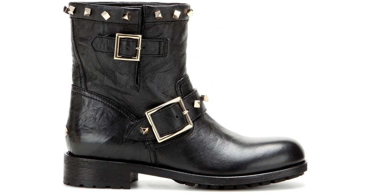 d36c56dd0d3 Lyst - Jimmy Choo Youth Embellished Leather Biker Boots in Black