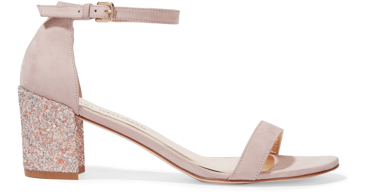 0bfd6cbcdc6e Lyst - Stuart Weitzman Simple Glittered Nubuck Sandals in Natural
